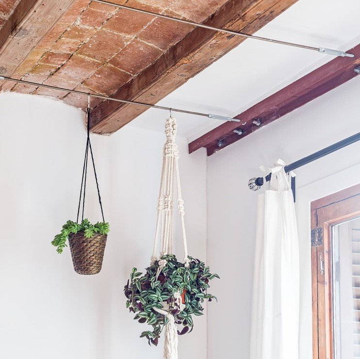Plants hung from a metal beam already incorporated into the room